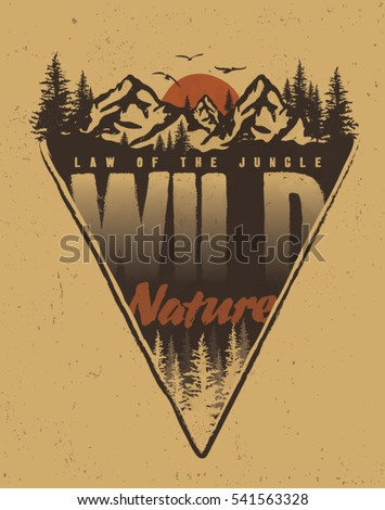 adventure and outdoor. college. trekking. vintage tee print design.