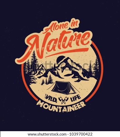 adventure camp outdoor. college. trekking. vintage tee print design.