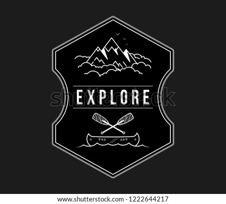 Adventure exploration white on black is a vector illustration about discovering and exploring