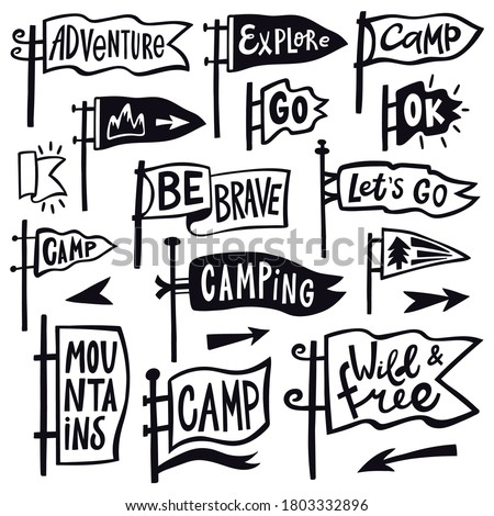 Adventure hiking pennant. Hand drawn camping pennant flag, vintage lettering flags, tourist quotation pennants vector illustration icons set. Hiking and pennant outdoor travel, explore emblem Stockfoto ©