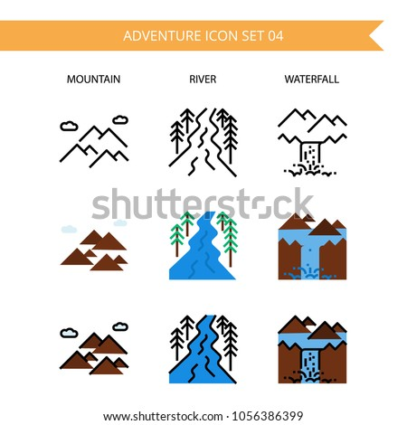 adventure icon setwater fall