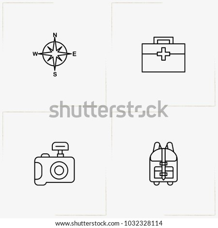 Adventure line icon set with backpack, medical kit and photo camera
