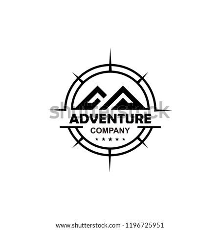 Adventure logo design with mountain and compass vector