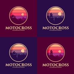 Adventure motocross mountain road logo design