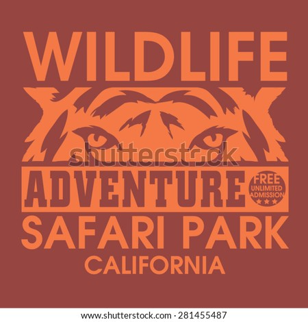 Adventure safari tiger typography, t-shirt graphics, vectors