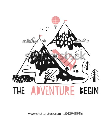 adventure slogan and mountain