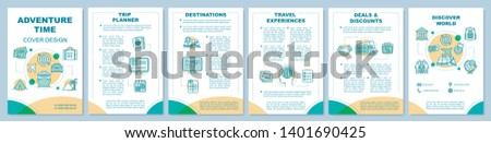 Adventure time cover design brochure template layout. Travel agency. Flyer, booklet, leaflet print design, linear illustrations. Vector page layouts for magazines, annual reports, advertising posters