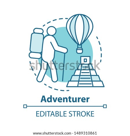 Adventurer blue concept icon. Adventurous lifestyle idea thin line illustration. Traveling, mountain climbing, participating in extreme sport. Vector isolated outline drawing. Editable stroke
