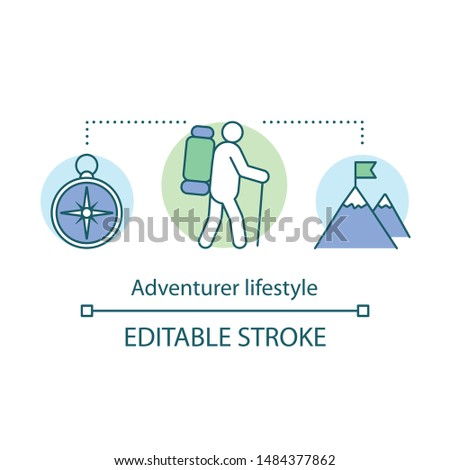 Adventurer lifestyle concept icon. Adventurous living idea thin line illustration. Traveling, mountain climbing, participating in extreme sport. Vector isolated outline drawing. Editable stroke