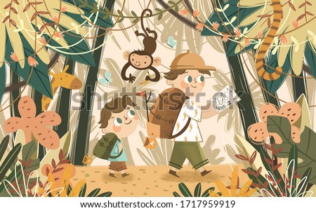 Adventures in the jungle and safari. Children vector illustration of kids camping in an exotic forest with african animals monkey and giraffe. Cute drawing of walking and traveling boys.