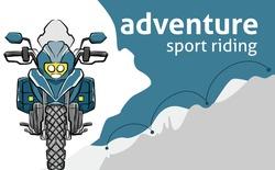 Adventurous motorbike exploring the world. Background Vector EPS20