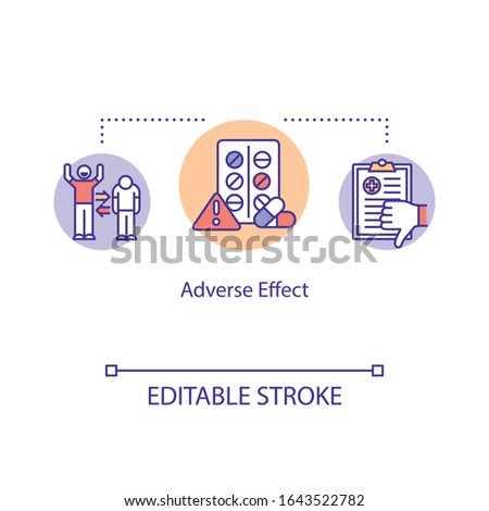 Adverse effect concept icon. Undesired harmful consequences idea thin line illustration. Side effect. Medical error. Vector isolated outline RGB color drawing. Editable stroke Stock photo ©