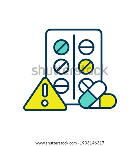 Adverse effects RGB color icon. Adverse drug reaction. Abnormal medical treatment result. Undesired harmful effect after medication. Medicinal product unwanted result. Isolated vector illustration Stock photo ©