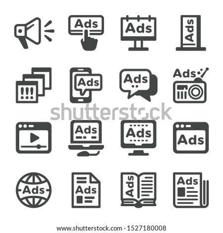 advertise and advertising icon set,vector and illustration