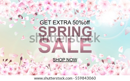 Advertisement about the spring sale on background with beautiful cherry blossom. Vector illustration.