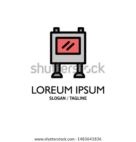 Advertisement, Advertising, Billboard, Poster Business Logo Template. Flat Color