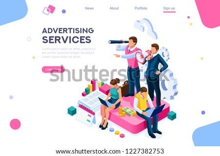 Advertisement, call for advertising. Engineering access to client cloud on announce data. Announcement, company audio contact. Infographic of integrated online alerts as amplifier of attention. Vector