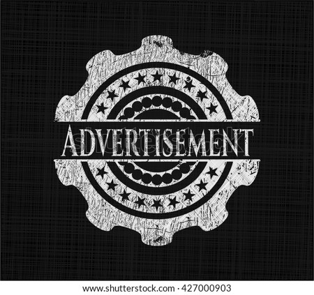 Advertisement chalkboard emblem written on a blackboard