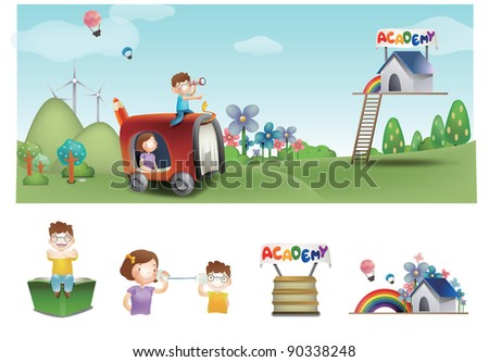 Advertisement for Academy School - traveling a cute son and happy mom look for successful campus life in joyful camping park on a background of beautiful blue sky and green grass : vector illustration