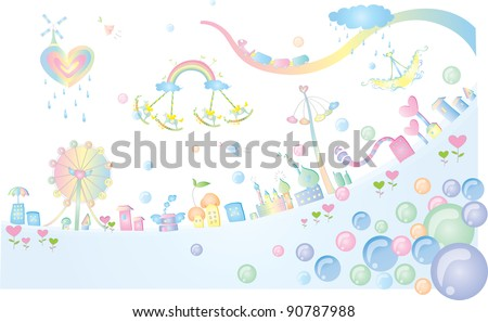 Advertisement for Happy Fantasy Land - on white and blue background : vector illustration