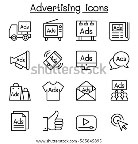 Advertisement icon set in thin line style