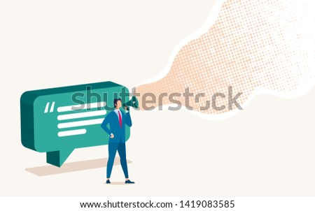 Advertisement in Social Network, Digital Marketing Campaign Flat Vector Concept with Businessman, Company Leader, Financial Expert Talking in Loudspeaker, Promoting, Advertise Something Illustration