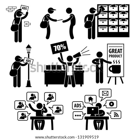Advertisement Marketing Strategy Distributing Banner Leaflet Promotion Salesman Telemarketing Email Internet Stick Figure Pictogram Icon