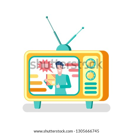 Advertisement on television vector, advertising of products via tv set. Isolated icon of mass media, man with adverts, old fashioned monitor with antenna