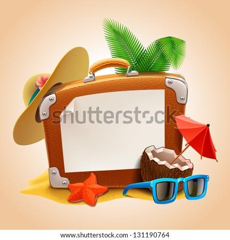 Advertisement on travel suitcase