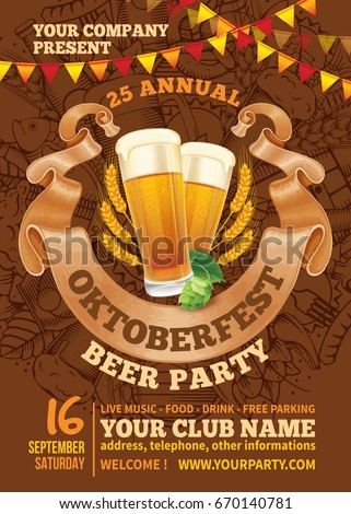 Advertisement poster template of Oktoberfest beer party with different objects related with beer festival. Hand drawn doodle pattern on background. Vector illustration.