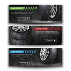 Advertisement posters for your business. Vector realistic 3d car tires illustration for your store. Black rubber tire sale, protection and service flyer.