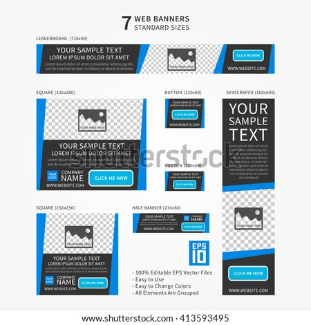 Advertising (ad) web banner vector template. Standard size ad web banners set. Modern ad web banner template design. Standard size website banner concept for corporate advertising.
