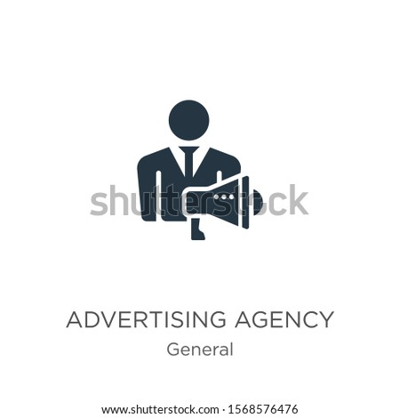 Advertising agency icon vector. Trendy flat advertising agency icon from general collection isolated on white background. Vector illustration can be used for web and mobile graphic design, logo, eps10