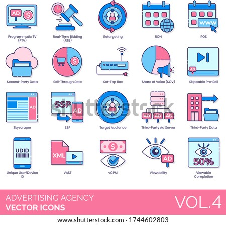 Advertising agency icons including programmatic tv, real time bidding, retargeting, ron, ros, second-party data, sell-through rate, set-top box, share of voice, skippable pre-roll, skyscraper, ssp. Foto stock ©
