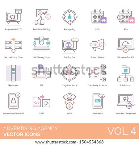 Advertising agency icons including tv, real time bidding, retargeting, ron, ros, sell-through rate, set-top box, share of voice, ssp, audience, third-party ad server, unique user device id, vast, vcpm