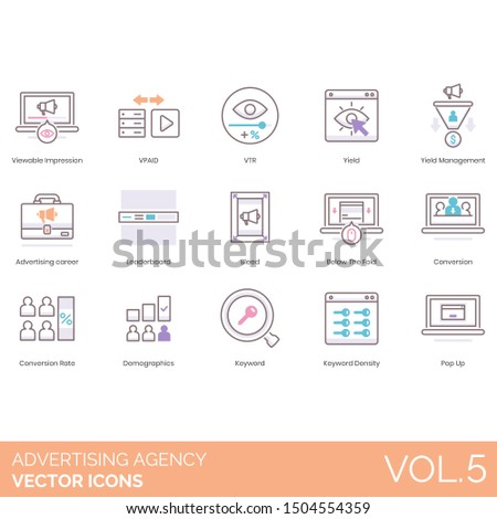 Advertising agency icons including viewable impression, vpaid, vtr, yield management, career, leaderboard, bleed, below the fold, conversion, rate, demographics, keyword density, pop up.