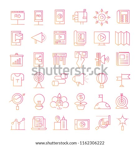 advertising and marketing icons red line design