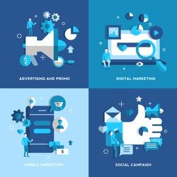 Advertising and promotion, Digital Marketing, Mobile Marketing, Social Campaign concepts. Set. Vector illustration