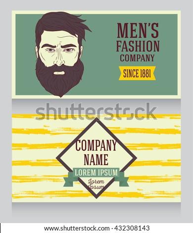 advertising banner for trendy man's shop, hand drawn sketch design, vector illustration