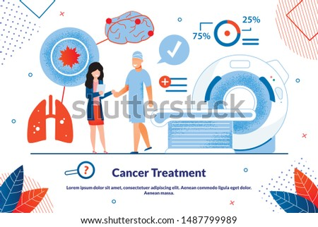 Advertising Banner is Written Cancer Treatment. Biological and Cultural Research Methods in Medicine. Man Stands Next to Woman with Folder, against Background Modern Equipment. Vector Illustration.