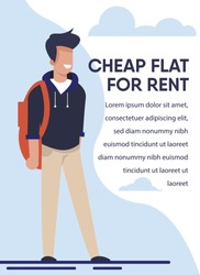 Advertising Banner with Best Offer for Student. Young Male Character with Schoolbag Standing Along. Cheap Flat for Rent Promotion Title and Text Ads. Online Searching and Booking. Vector Illustration