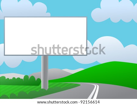 Advertising billboard on country road. Sunny day, green hills and blue sky.