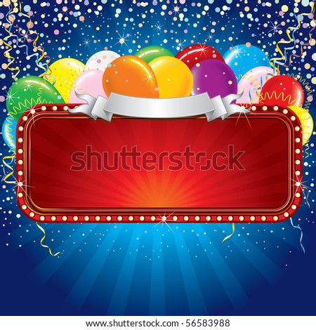 Advertising billboard with balloons and confetti. Ready for celebrating and entertainment text&design.-MORE COOL SIGN SEE AT MY GALLERY