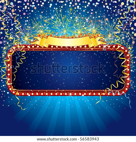 Advertising billboard with fireworks and confetti. Ready for celebrating and entertainment text or design.-MORE SIMILAR BACKGROUNDS SEE AT MY GALLERY