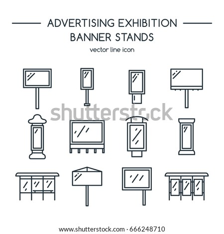 Advertising billboards and banner display, exhibition stands. Line icons set.