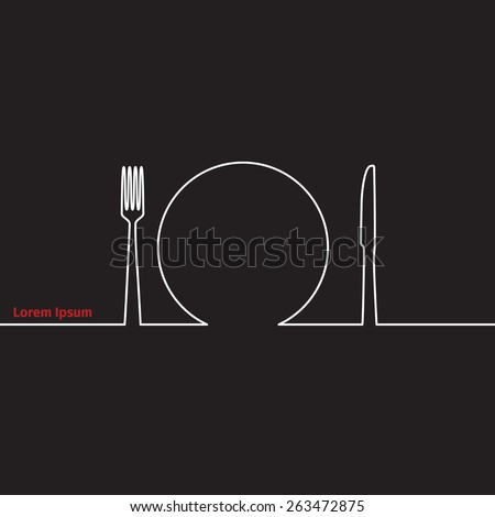 Advertising card with fork, knife and spoon silhouette, vector illustration