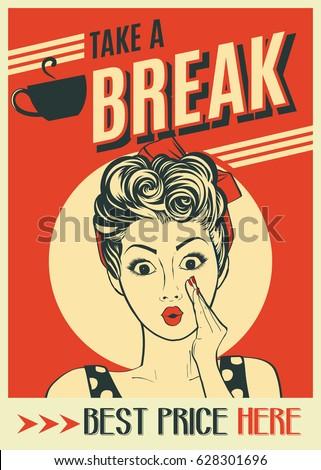 advertising coffee retro poster ...