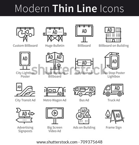 Advertising, commercial, promotion, marketing campaign signs. Outdoor media channels: billboard, poster, banner, signboard, public transport ads. Modern thin line art icons. Linear style illustrations