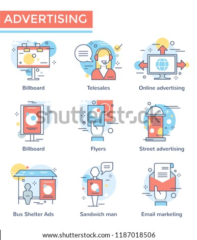 Advertising concept icons, thin line, flat design