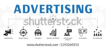 advertising concept template. Horizontal banner. Contains such icons as Market research, Promotion, Target group, Brand Awareness